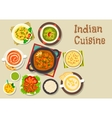 Indian cuisine icon of popular dishes with dessert vector image vector image