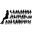 isolated silhouette a man women and children vector image vector image