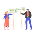man and woman holding signs done vector image vector image