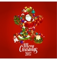 Merry Christmas 2017 poster Gingerbread man vector image vector image