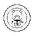 monochrome contour circle with teddy bear vector image