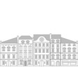 old european houses flat outline drawing vector image vector image