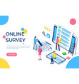 online survey people with screens and laptops vector image vector image