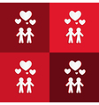 Paper People Holding Hands with Hearts on Red vector image vector image