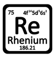 Periodic table element rhenium icon vector image vector image