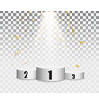 podium background with gold confetti and light vector image vector image