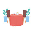 restaurant interior table with food and beverage vector image