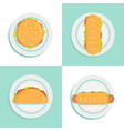 sandwich top view style set vector image