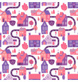 seamless pattern with spring village with road vector image