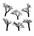 set of black naked trees silhouette set vector image vector image