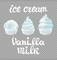 set of ice cream scoops poster design with milk vector image
