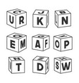set outline toy bricks with letters vector image