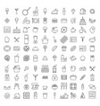 set simple 100 kitchen icons in trendy line vector image