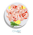shrimps with rosemary and lemon on the plate vector image vector image