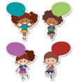 sticker designs with cute boys and girls vector image vector image