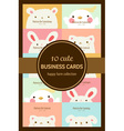 ten cute pastel animal business cards or labels vector image vector image