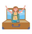 tourist girl cartoon with bag design vector image vector image