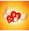 two lovely red heart on golden background with win vector image