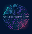 valentines day round colored outline vector image vector image