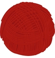 Wool red yarn ball isolated on white vector image vector image