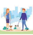 young couple with dogs in the park vector image vector image