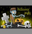 zombie and pumpkin on grave vector image vector image