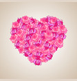 heart made of pink roses vector image