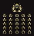 ba-bz font design collection in gold color shield
