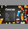 bar menu design template for cocktail drinks vector image vector image