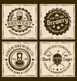 beer and brewery four colored emblems or badges vector image vector image