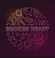 broken heart round colored linear vector image