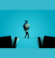 businessman crossing abyss on tiny rope with vector image vector image