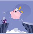 businessman riding piggy bank across cliff vector image vector image