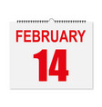 calendar february 14 valentines day in a vector image vector image