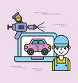 car service worker person laptop spray paint color vector image vector image