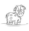 cartoon a cute cow sketch vector image vector image