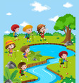 children hiking up the river vector image vector image