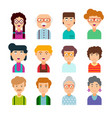 collection cute avatars vector image vector image
