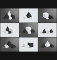 collection of various geometric figures and prisms vector image vector image
