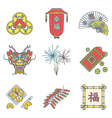colored outline chinese new year icons set vector image vector image