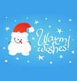 cute shy snowman with hidden hands vector image vector image