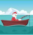 design santa claus fishing in his boat at vector image vector image