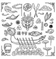 dragon boat festival doodle set vector image vector image