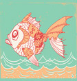 fish with mechanical parts of body hand drawn vector image