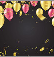 gold balloons and red happy chinese new year vector image