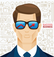 Infographic business man face arrow shape