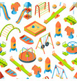 isometric playground objects background vector image vector image