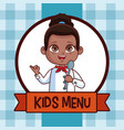kids menu cartoon vector image vector image