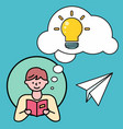 man reading book thoughts bubble with light bulb vector image