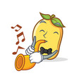 Mango character cartoon mascot with trumpet
